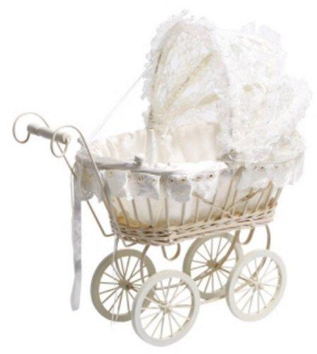 Puppenwagen, Weiß mit Spitze