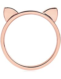 ELBLUVF 18 K placcato acciaio inossidabile oro rosa titanio orecchie di gatto anello Cat anello taglia 4 - 8