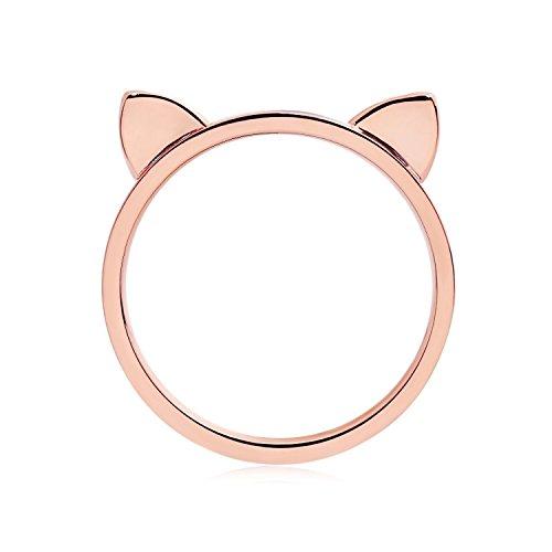 ELBLUVF 18 K Rose vergoldet Edelstahl Damen Süße Katze Ohren Katze Ring