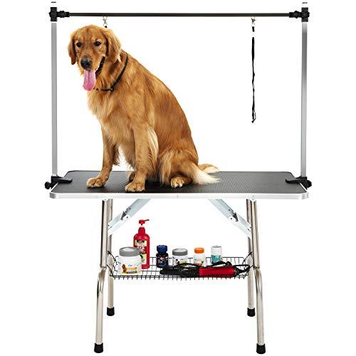 PURLOVE Haustier Hund Pflegetisch Trockentisch Trimmtisch tragbar, Oben mit verstellbaren Armen, Schlinge, Klemme und Mesh Tablett für kleine oder mittlere oder große Hunde