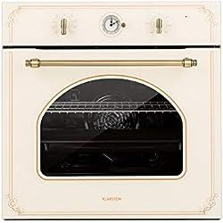 Klarstein Victoria four encastré - four électrique, four rétro, 9 fonctions, minuterie, 50-250°C, 70L, 10 positions pour plaques, porte amovible pour un nettoyage facile, éclairage, ivoire