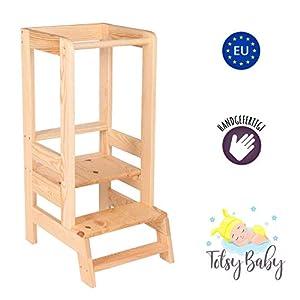 Lernturm Learning Tower – Lernturm Kinder Helferturm Küchenhelfer Lernstuhl Montessori Kitchen Helper Stehhocker Natur Holz