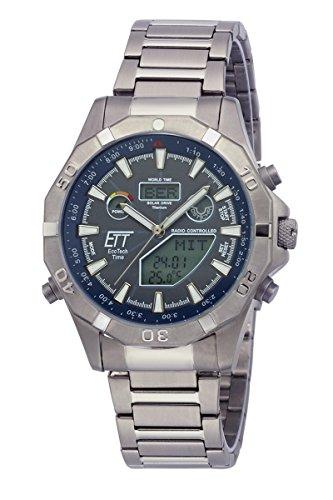 Eco Tech Time Solar Drive Funk Alaska Hombre Reloj EGT de 11355–50m World Timer indicador de temperatura, titanio Reloj de pulsera