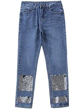 Las mujeres elegantes con lentejuelas pantalones vaqueros del dril de algodón azul bolsillos estilo europeo señoras...