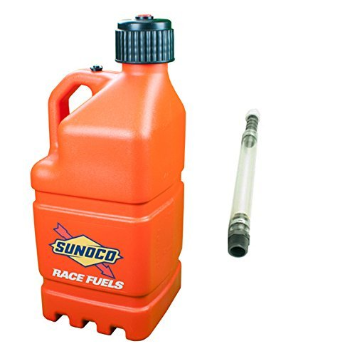 sunoco-race-fuels-5-gallon-racing-utility-jug-with-deluxe-filler-hose-kit-orange-made-in-the-usa-by-
