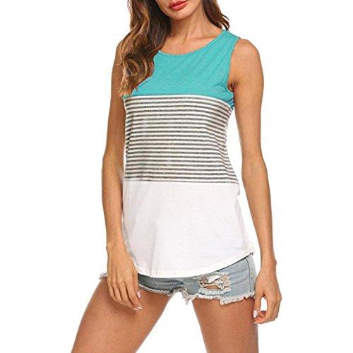 UFACE Frauen Ärmelloses Neck Stripe Panel Weste Top Damen Casual Rundhals Sleeveless gestreiften Sommer Tank Tops Bluse (XL, Grün)