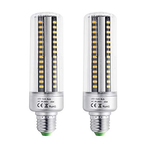 EKSAVE E26 / E27 96 LED 5736 SMD 25W LED-Maisbirne, Glühlampenwechsel, Energiesparende Glühlampen für Zuhause Lampe mit Abdeckung 2000 Lumen, AC220V, ohne Dimmbar (2 Stück, warmweiß) (Keramik Kandelaber-sockel)