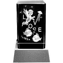 Kaltner Präsente Lampada per illuminazione d' atmosfera–particolare idea regalo: candela LED/blocco in vetro cristallo/incisione 3d al laser lieb angelo cuore Love