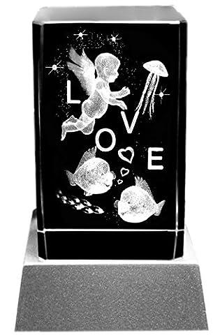 Kaltner präsente lampe d'ambiance rectangulaire-un cadeau particulier : lED bougie bloc de verre 3D cristal laser ange en forme de cœur avec inscription lOVE gravure offerte