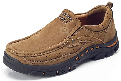 CAMEL CROWN Lederschuhe Herren Leder Freizeitschuhe Mokassins Atmungsaktiv Slip on Loafers Outdoor Casual Sneakers Weich Leder Shoes Halbschuhe- Bequeme Schuhe für Arbeit Business-Kleid im Freien