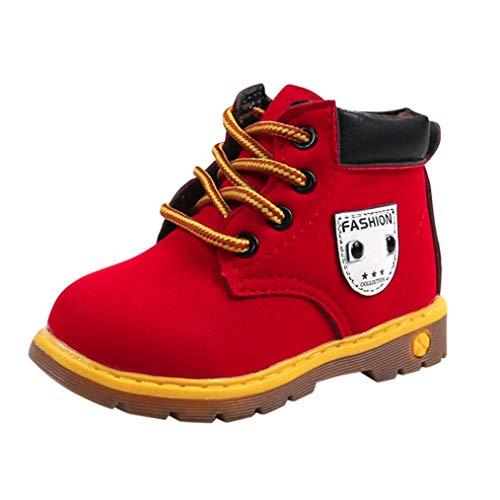 Zapatos de bebé, ASHOP Niña Niño Casuales Zapatillas del Otoño Invierno Suela Deporte Antideslizante del Zapatos Calentar Martín Botas Sneaker 0-6 Años (Rojo,1-1.5 Años)
