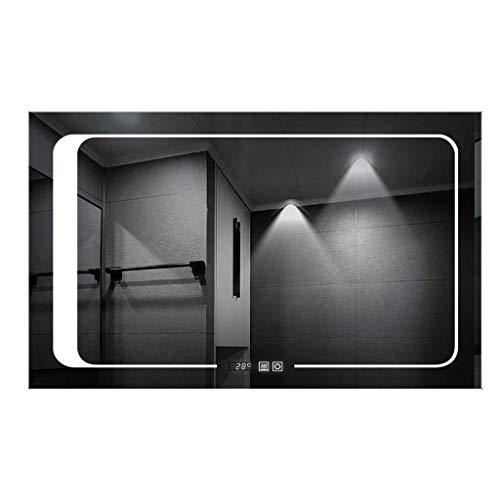 MJZKK Beleuchteter Badezimmerspiegel Mit LED-Licht, Touch-Sensor-Schalter, Bluetooth-Speaker, LED-Uhr | Beheiztes Pad-Lichtspiegel Warm -