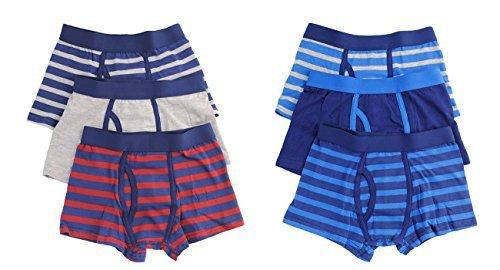 Bambino, Costume da bagno a boxer a culotte, confezione da 6, 5-12 anni Bianco (7 Boxer Brief Underwear)