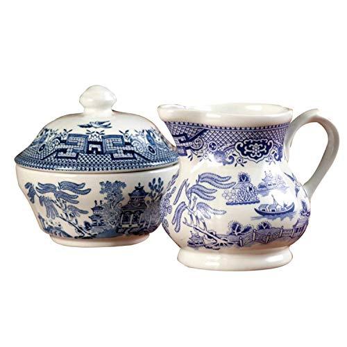 Churchill China Blue Willow Geschirr, Blau Sugar Bowl & Cream Jug Set Blue Sugar Bowl