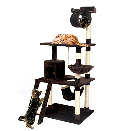 xiaojuan-pets, Scratch Cat Cat Scratching Cat Cat Toys Mobili Condo con altezza 154 centimetri di scale (Color : Brown)