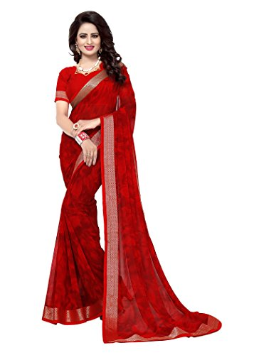 Oomph! Women's Chiffon Printed Sarees - Crimson Red