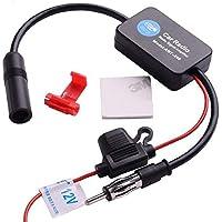 Lanyifang Amplificador de Señal Intensificador de Señal de Coche Estéreo FM y Am Antena de Señal de Radio Señal Aérea Amplificador en Línea Negro Cobre