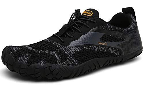 Voovix Barfußschuhe Herren Damen Outdoor Fitnessschuhe Traillaufschuhe Atmungsaktive rutschfeste Laufschuhe(Schwarz,43) - Grüne Erde Textilien