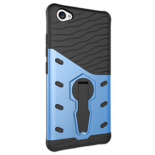 Für VIVO X9 V5 Plus Armor Cover, 2 In 1 Durable TPU + PC Heavy Duty 360 ° Drehbarer Stand Dual Layer Shockproof Case Cover ( Color : Silver ) Blue