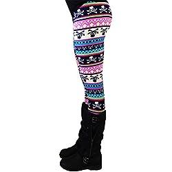 MORCHAN ❤ Casual Femmes Lady Skinny imprimé géométrique Stretch Pantalon de Jegging Slim Leggings Jeans Combinaisons Pantalon Court Collants Knickerbockers(L,Multicolore-3)