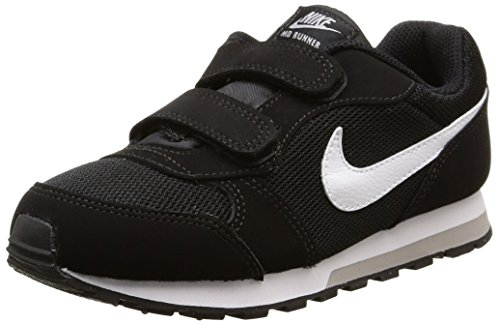 Nike Jungen Md Runner 2 Low-Top Schwarz (Black/White-Wolf Grey), 35 EU