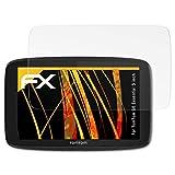 atFoliX Panzerfolie kompatibel mit Tomtom GO Essential 5 inch Schutzfolie, entspiegelnde & stoßdämpfende FX Folie (3X)