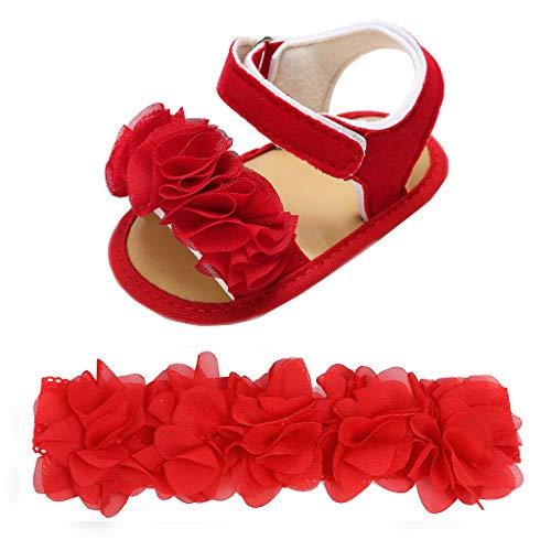 AIni Baby Schuhe,Mode Beiläufiges Neugeborenes Baby Mädchen Jungen Haarband + Blumen Pailletten Sandalen Erste Wanderer Schuhe Lauflernschuhe Kleinkinder Schuhe Krabbelschuhe (13,Rot)