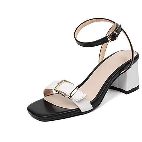 MENGLTX High Heels Sandalen Plus Größe 33-44 Einfache Schnalle Sommer Schuhe Mischfarben Mode Frauen Sandalen Platz High Heels Schuhe Frau 6 Weiß -
