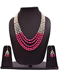 EXOTICAL 5-Layered White And Pink Blue Pearl Mala Necklace With Stud Earrings For Women And Girls