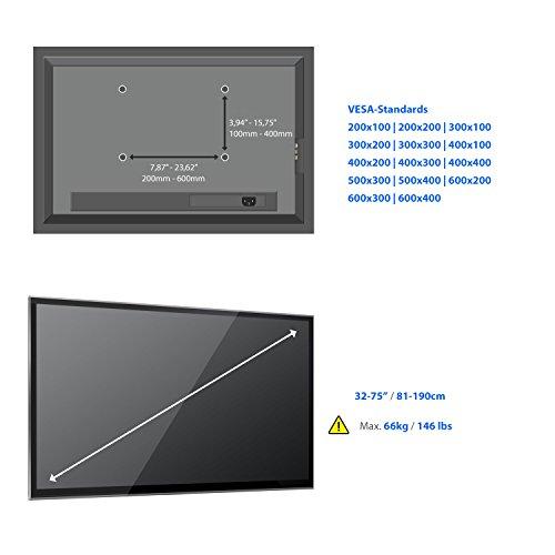 """deleyCON Universal TV Wandhalterung - 32\"""" bis 75\"""" Zoll (81-190cm) - bis -15°/+5° Neigbar - bis -60°/+60° Schwenkbar - Belastbar bis 66Kg - bis VESA 600x400mm – Wandabstand variabel 69-635mm - TV Plasma LCD LED OLED TFT Halterung"""