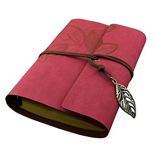 Tinksky Reisetagebuch Leder Musterzeichenfolge Gebunden Leeren Notebook Editor Travel Journal Tagebuch Reisetagebuch- Size L (Rot)