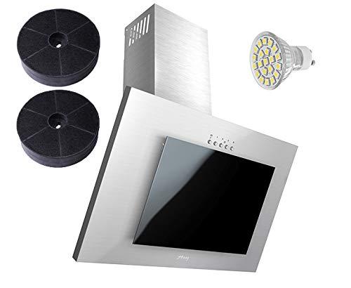 HAAG Vertikal C Edelstahl + Schwarz Glas + LED, Kohlefilter GRATIS! 60 cm Dunstabzugshaube, Kopffrei, Umluft/Abluft - Dunstabzugshaube Edelstahl