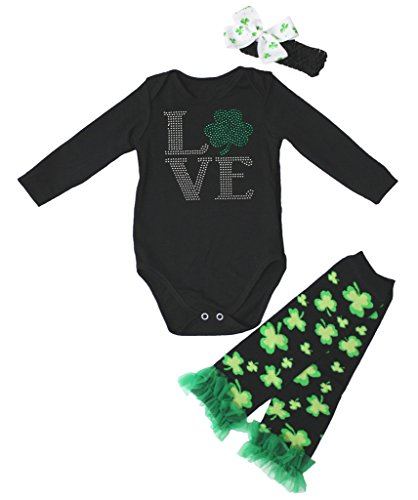 Kleidung St Für Kleinkinder Patrick (St Patrick Day Dress Love Clover Black L/s Jumpsuit Leafs Leg Warmer Set Nb-24m (6-12)