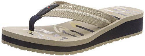 Tommy Hilfiger Tommy NY Beach Sandal, Chanclas para Mujer, Beige (Cobblestone...
