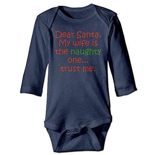 MSGDF Unisex Newborn Bodysuits Dear Santa Naughty Wife Baby Babysuit Long Sleeve Jumpsuit Sunsuit Outfit Navy