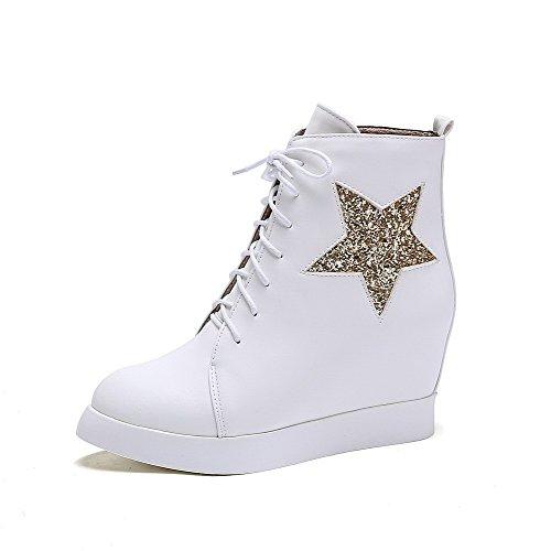AgooLar Damen Blend-Materialien Rund Zehe Rein Niedrig-Spitze Hoher Absatz Stiefel, Weiß, 35