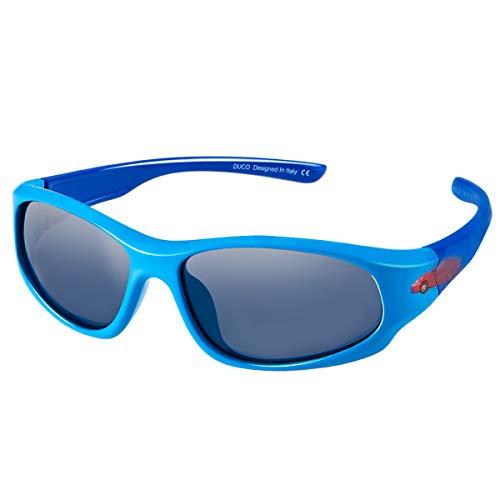 DUCO kinder sport style polarisierenden sonnenbrillen flexiblen rahmen für die jungen und mädchen (Blau/Blau)