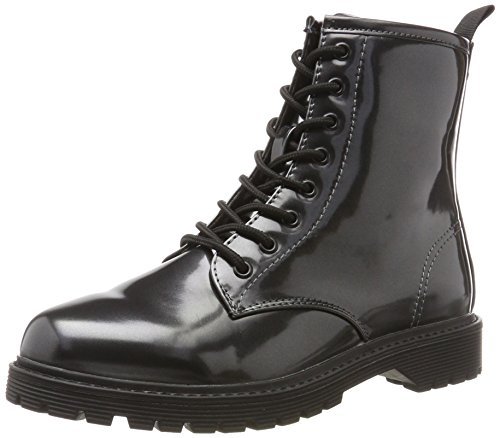 Fritzi Aus Preussen Damen Liz Patent Worker Boot Combat, Grau (Gunmetal), 37 EU (Leder-booties Patent)