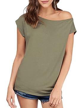 Yeesea Mujer moda camiseta verano casual suelto manga corta blusa de las tapas ocasionales camiseta Tops