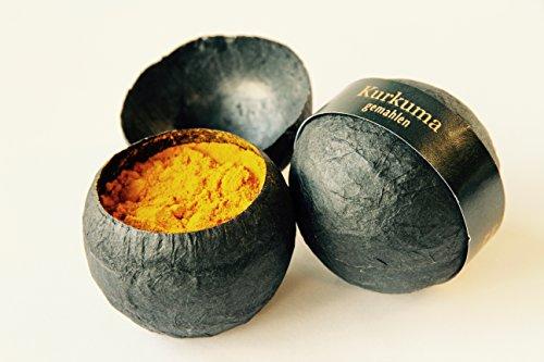 Kurkuma, gemahlen – In handgemachter Kugel aus Strohseide (22g) – Ideal als Gourmetgeschenk – Gewürzschätze von Feuer & Glas Arabische Gerichte-set