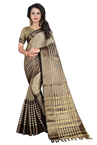 SATYAM WEAVES WOMEN'S ETHNIC WEAR BANARASI PLAIN ART SILK BIEGE COLOUR SAREE.(SARIKA...