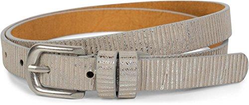 styleBREAKER schmaler unifarbener Gürtel mit Metallic Streifen, Vintage, kürzbar, Damen 03010089, Größe:85cm, Farbe:Antik-Silber -
