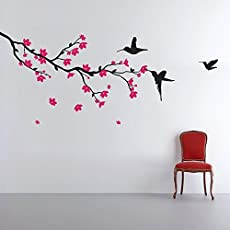 Decals Design 'Humming birds and Blossoms' Wall Sticker (PVC Vinyl, 50 cm x 70 cm, Multicolour)