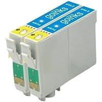 2 Compatibile Ciano Cartuccia stampante per sostituire T0442 per l'uso in Epson Stylus C64, C64 Photo Edition, C66, C68, C84, C84 Photo Edition, C84N, C84WN, C86, C86 Photo Edition, CX3600, CX3650, CX4600, CX6400, CX6600
