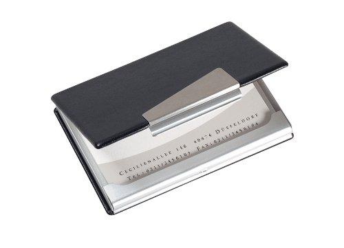 Sigel VZ131 Étui pour carte de visite, jusqu'à 20 cartes, 9 x 5,8 cm, noir/argent