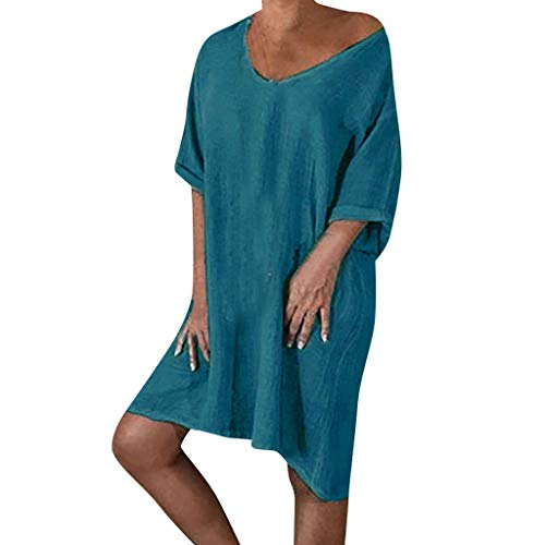 Elegantes Knielanges Sommerkleid Damen Leinen Kleider V-Ausschnitt Strandkleider Einfarbig A-Linie Kleid Leinenkleider Casual Lose Tunika T-Shirt Kleid Kurzarm Blusekleider große größen