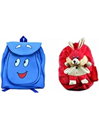 Pratham Enterprises Combo Of Blue Smile Bag And Pinik Rabbit Soft Toy Bag ( Pack Of 2 )