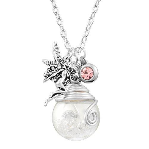 Damen Mädchen Glück Kette Halskette Wünschen Wish Glasflasche Anhänger mit Elfe Weiß Silber Farbe
