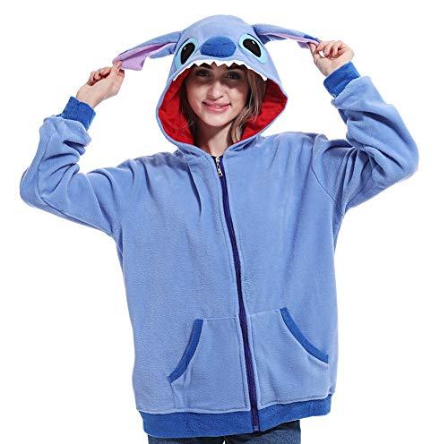 Lazutom Anima Hoodie Vestes Sweat à Capuche Jacket Animaux Cartoon Cosplay Zip Up Hoodie Outerwear Jacket (Blue Stitch, S)