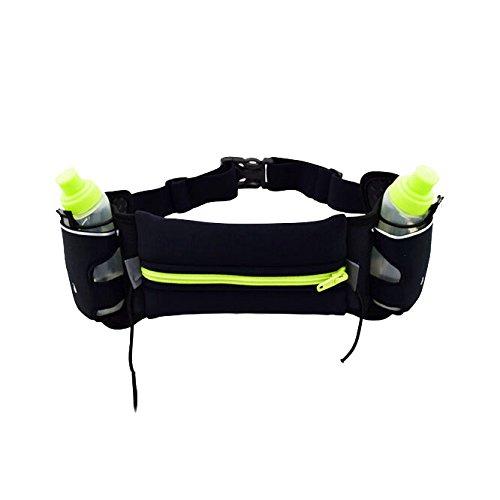 Amtop ergonomische Trinklaufgürtel, Trinkgürtel mit 2 Mini Trinkflaschen - Trinkrucksack für Läufer Schwarz / Grün